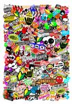 Huge 1000x700mm Size Portrait Format With Multi Colour JDM Drift Style Icons Premium Quality Vinyl Car Sticker Bombing Sheet